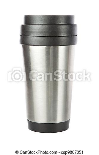 タンブラー, 旅行, thermos, cup., closeup. - csp9807051