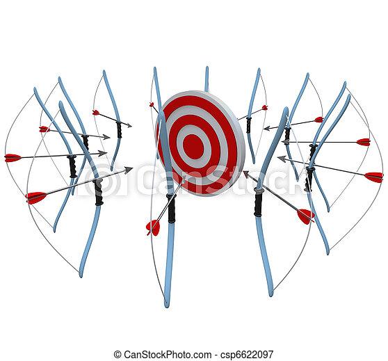 ターゲット, 多数, 矢, 競争, 1(人・つ), お辞儀をする, 狙いを定める - csp6622097