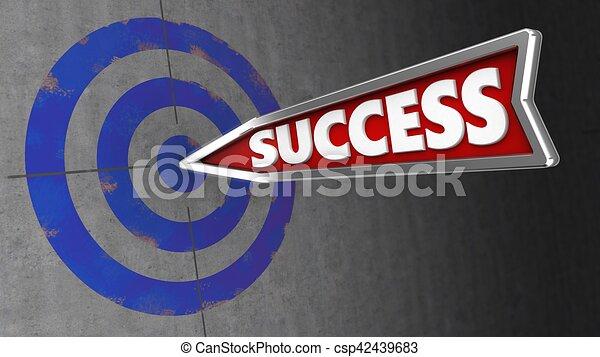 ターゲット, 成功, 壁, イラスト, 矢, 3d - csp42439683