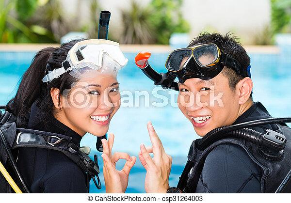 ダイビング, 学校教師, 学生 - csp31264003