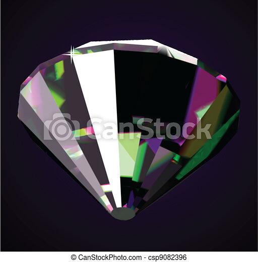 ダイヤモンド, 暗い, バックグラウンド。, 明るい, ベクトル, 光沢がある - csp9082396