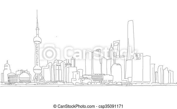 ダウンタウンに, パノラマ, スケッチ, 上海, アウトライン - csp35091171