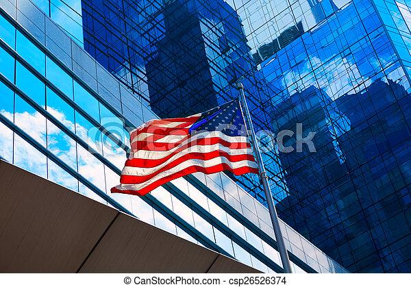 ダウンタウンに, ボストン, 旗, アメリカ人, マサチューセッツ - csp26526374