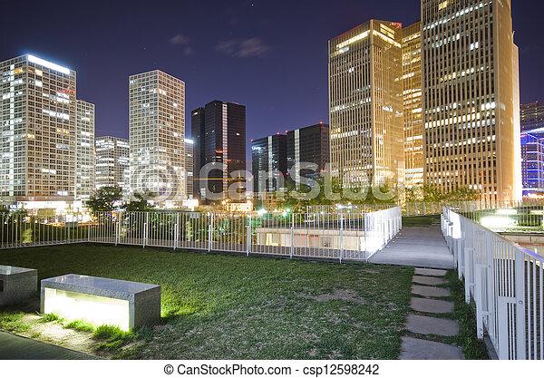 ダウンタウンに, 北京, 建物, オフィス, 夜 - csp12598242