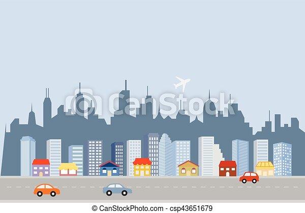 ダウンタウンに, 大きい, スカイライン, 都市 - csp43651679