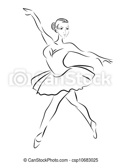 ダンサー, スケッチ, ベクトル, バレエ, 輪郭 - csp10683025