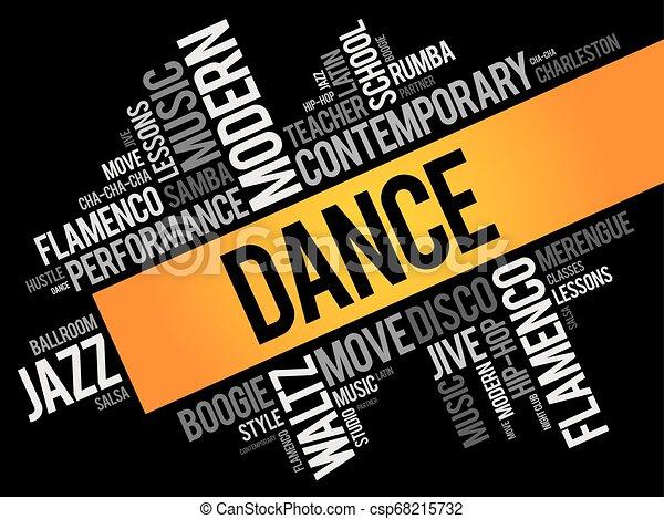ダンス, コラージュ, 単語, 雲 - csp68215732