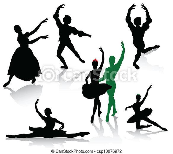 ダンス, バレリーナ, シルエット - csp10076972