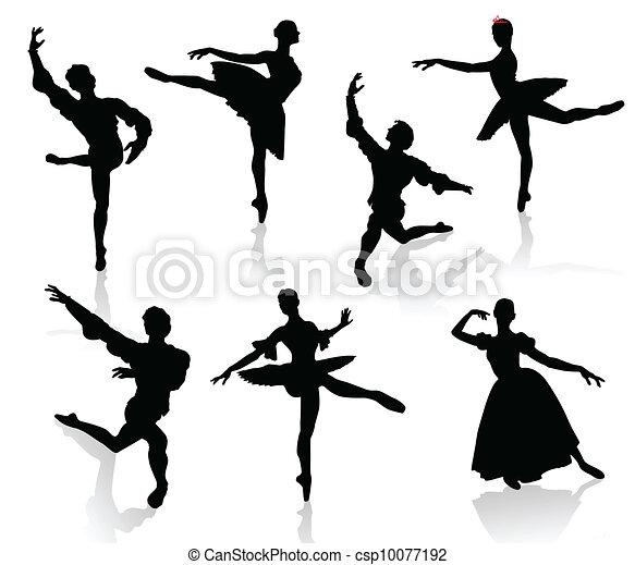 ダンス, バレリーナ, シルエット - csp10077192
