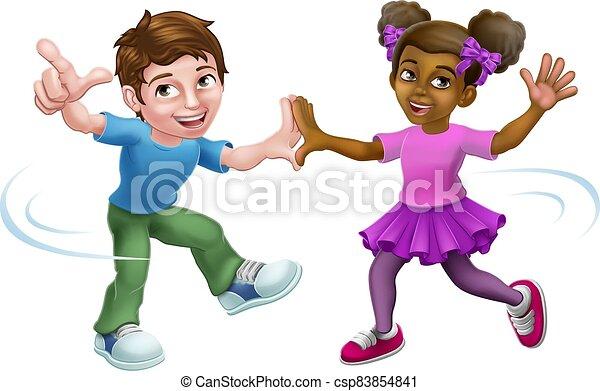ダンス, 男の子, 子供, 子供, 漫画, 女の子 - csp83854841