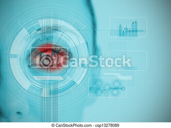チャート, 分析, datas, 終わり, interfaces, の上, 目, 女 - csp13278089