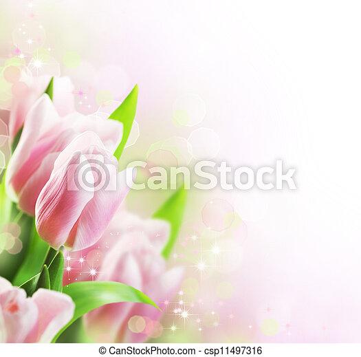 チューリップ, 春, ボーダー, デザイン - csp11497316