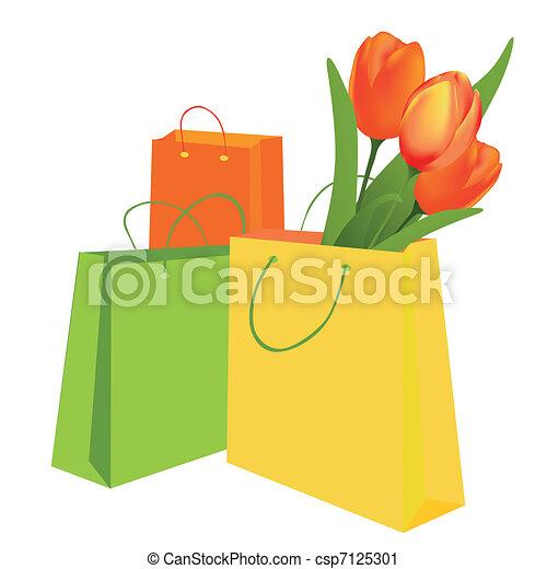 チューリップ, 袋, 買い物 - csp7125301