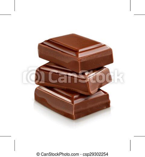 チョコレート イラスト 小片 イラスト 隔離された チョコレート小片 ベクトル 背景 白 Canstock