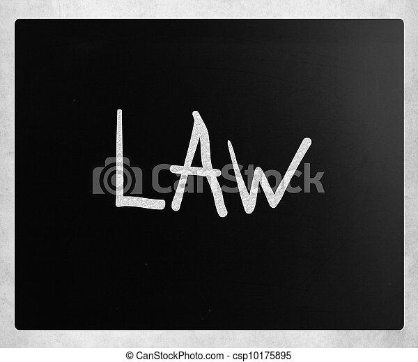 """チョーク, 黒板, 白, 手書き, """"law"""" - csp10175895"""