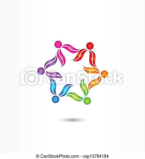 チームワーク, ベクトル, 多様性, ロゴ - csp13784184