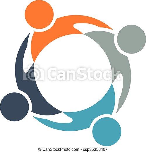 チームワーク, 円, グループ, 人々 - csp35358407