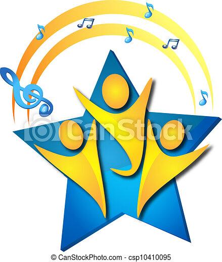 チームワーク, 才能, 歌うこと, ロゴ - csp10410095