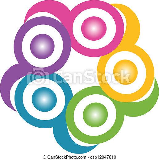 チームワーク, 抱擁, 象徴的, ロゴ - csp12047610