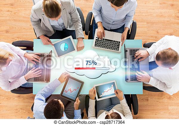 チーム, コンピュータ, 雲, ビジネス, 計算 - csp28717364