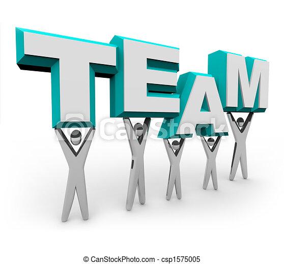 チーム, 単語, 持ち上がること, 人々 - csp1575005