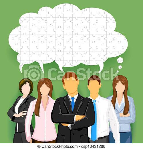 チーム, 泡, チャット, ビジネス, 困惑させる - csp10431288
