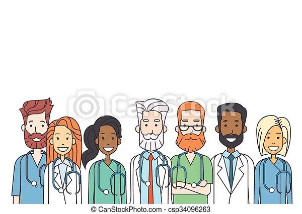 チーム, 薄くなりなさい, グループの仕事, 線, 医者, 中間 - csp34096263