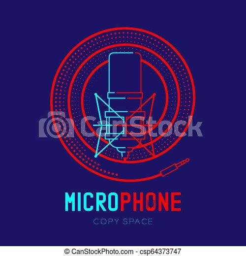 テキスト, フレーム, らせん状に動きなさい, ダッシュ, ストローク, デザイン, ロゴ, 青, マイクロフォン, 隔離された, レトロ, スペース, イラスト, 暗い背景, 線, コピー, アイコン, 10, アウトライン, ケーブル, eps, ベクトル - csp64373747