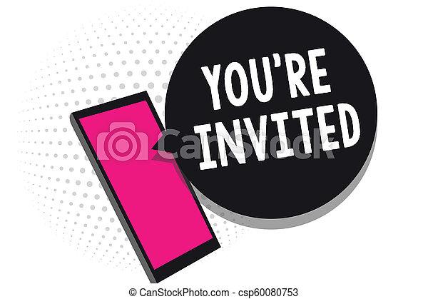 テキスト, 印, 私達の, invited., ゲスト, どうか, 細胞, レ, 写真, 概念, あなた, 受け取ること, チャット, ありなさい, 情報, 提示, 歓迎, 電話, 使うこと, 祝福, 参加しなさい, メッセージ, 私達, applications. - csp60080753