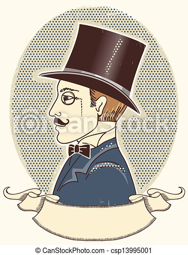 テキスト, 黒, スクロール, 肖像画, ベクトル, 上, 型, hat., 紳士 - csp13995001