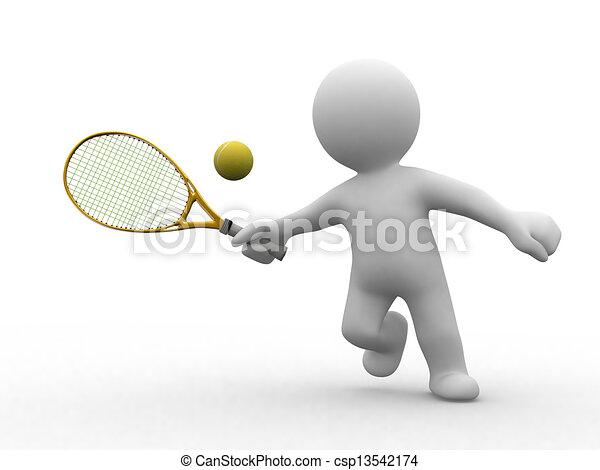 テニス, 3d, 人々 - csp13542174