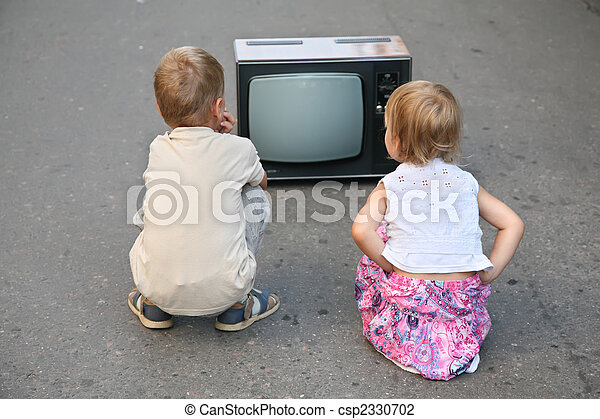 テレビ, 古い, 子供, 道 - csp2330702