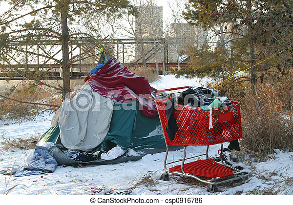 テント, 買い物, ホームレスである, カート, 人 - csp0916786