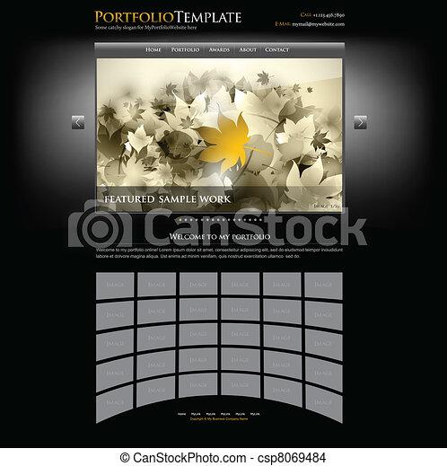 テンプレート, カメラマン, ポートフォリオ, -, デザイナー, ウェブサイト, 創造的, ベクトル, editable - csp8069484
