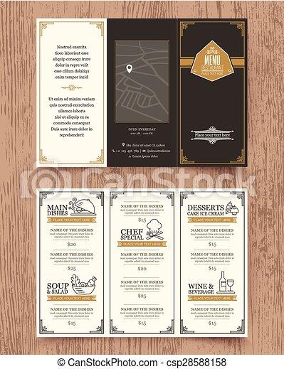 テンプレート, メニュー, 型, デザイン, パンフレット, レストラン - csp28588158