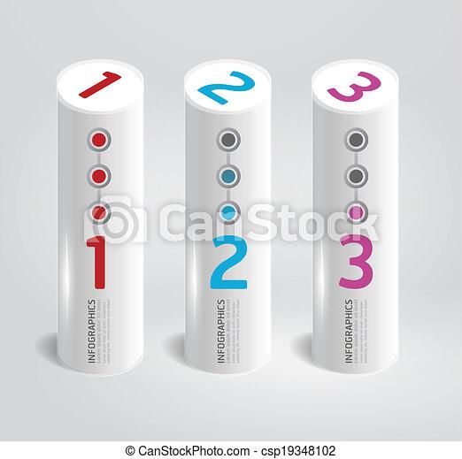 テンプレート, 円筒状である, 現代, style.numbered, infographic, デザイン, banners.vector - csp19348102