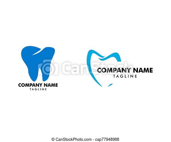 テンプレート, 歯医者の, ベクトル, セット, ロゴ, デザイン - csp77948988