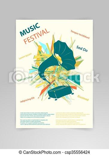 テンプレート, 背景, gramophone., 音楽, ベクトル - csp35556424