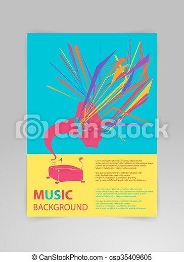 テンプレート, 背景, gramophone., 音楽, ベクトル - csp35409605