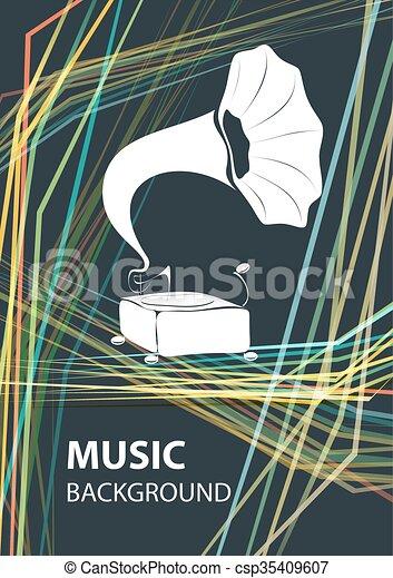 テンプレート, 背景, gramophone., 音楽, ベクトル - csp35409607