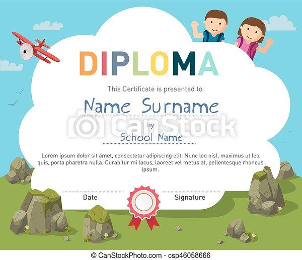テンプレート, 証明書, 背景, デザイン, 卒業証書, 子供 - csp46058666