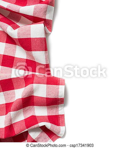 テーブルクロス, 白, 折られる, 隔離された, 赤 - csp17341903