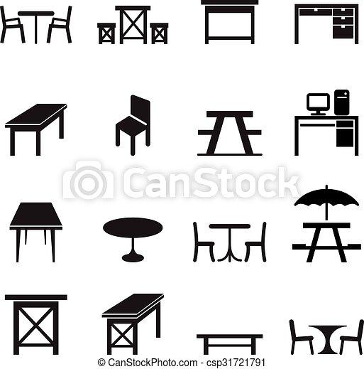 テーブル, セット, アイコン - csp31721791