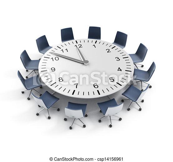 テーブル, ミーティング, ラウンド, 期限 - csp14156961