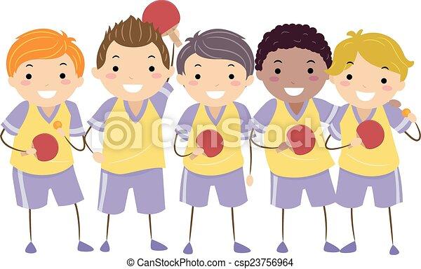 テーブル, 子供, stickman, テニス, 男の子 - csp23756964