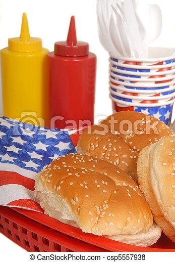 テーブル, 7月4日, ピクニック, 設定 - csp5557938