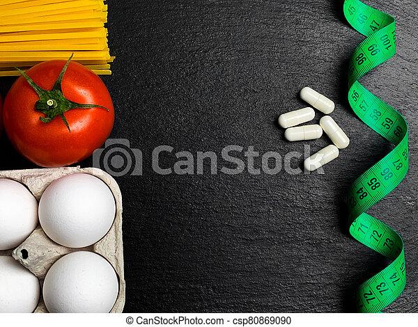 テープ, 丸薬, 食事, 白, 次に, 測定 - csp80869090