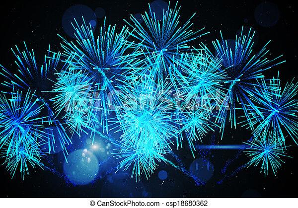 ディジタル方式で生成された, 花火, デザイン - csp18680362