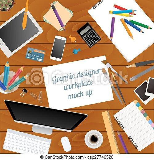 デザイナー, グラフィック, ワークスペース - csp27746520