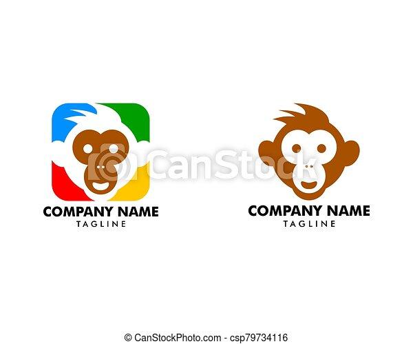 デザインを設定しなさい, サル, テンプレート, ベクトル, ロゴ, イラスト - csp79734116